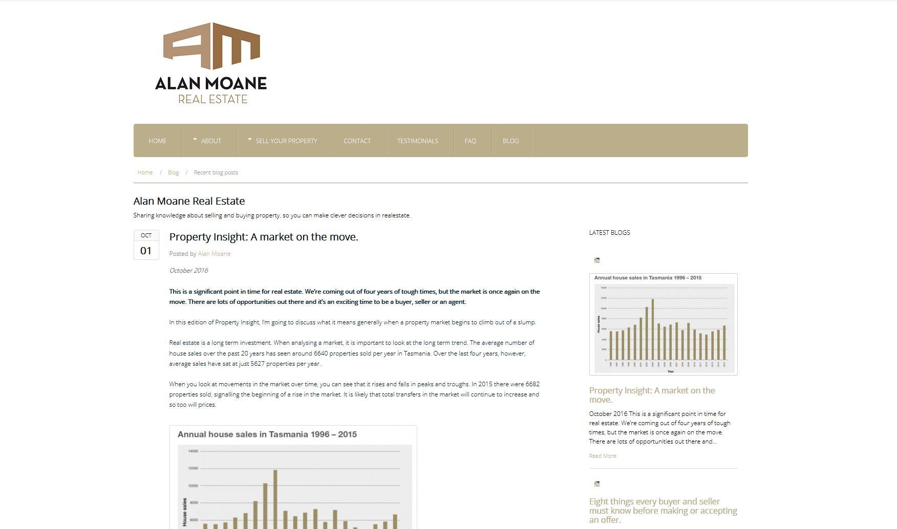 Alan Moane Real-estate – Blog Implementation