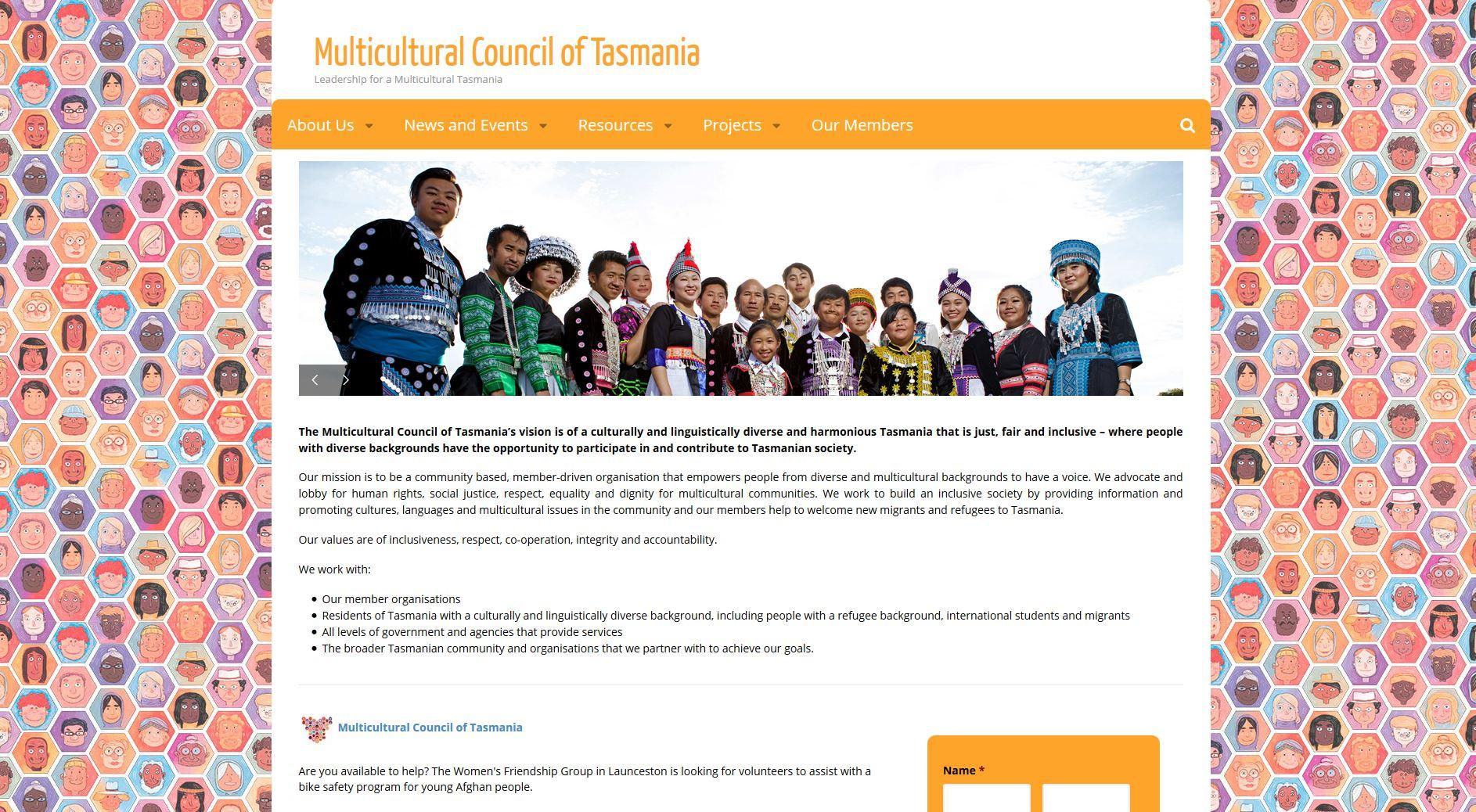 Multicultural Council of Tasmania - website build